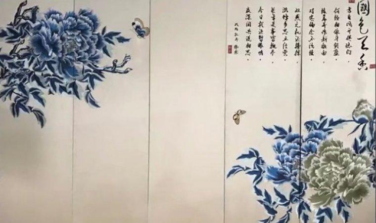 皮雕软包背景墙价格_国色天香 刺绣硬包电视背景墙